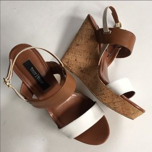 White House Black Market white and brown wedges